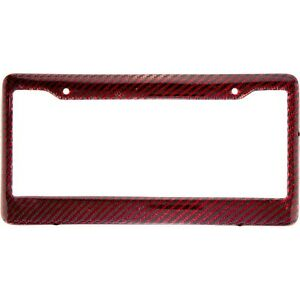 100% Real And Authentic Red Carbon Fiber License Plate Frame With Screw Caps