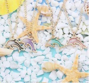Anhänger Delphin 4 Farben mit Kette goldfarben