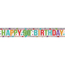 90th Happy Birthday Banner Party Decoration aGE 90 Bunting Shiny Holographic