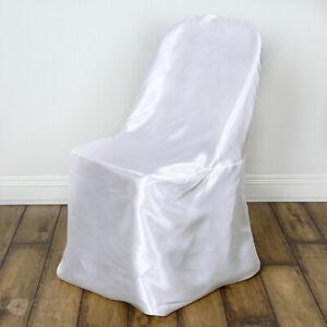50 pc White Satin Folding Chair Covers Wedding Reception qs