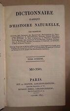 DICTIONNAIRE CLASSIQUE D'HISTOIRE NATURELLE TOME ONZIEME  MO-NSO 1827