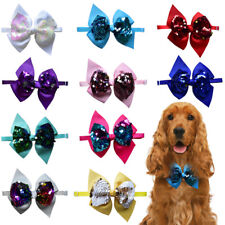Pet Dog Cat Bow Ties Adjustable Shining Sequins Dog Collar fit for Party/Holiday