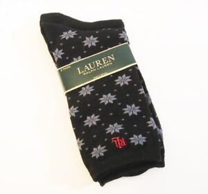 2 PR Ralph Lauren Ladies Socks Trouser Black Snowflake / Solid - NEW