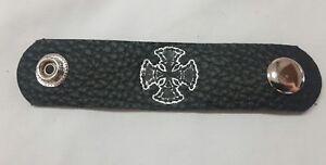 x4 malteese cross chain 11cm x 2cm leather vest extenders #124
