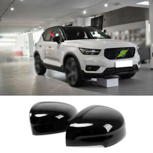 For Volvo XC40 2019-2021 Gloss Black Rear View Side Door Mirror Cover Trim 2pcs