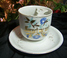 "Antique HP Mustache Cup & Saucer ""Forget Me Not"""
