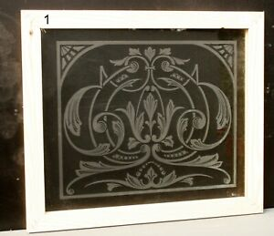 Vintage Original Etched Glass Pub Window Panel With Decorative Victorian Design