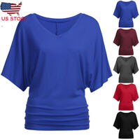 Women Summer Loose Batwing Sleeve T-Shirt Loose V Neck Blouse Tops Plus Size US