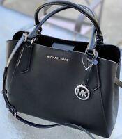 Michael Kors Kimberly  Black Pebbled Leather LARGE Satchel  Tote Shoulder Bag