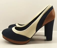 Ladies Court Shoes UK 6 Navy Suedette & Beige Patent High Heel Low Patent Royal