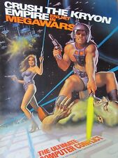Orig 1980s CompuServe MEGAWARS Video Game Promo Poster 'Crush the Kryon Empire'