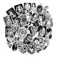 60 Black White Tattoo Girls Sticker Bomb Punk Skull Laptop Guitar Skate Decals