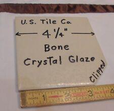 "1 pc. *Bone* Clipped Corner* Ceramic Tiles  4-1/4"" Crystal Glazed  (NOS) U.S.A."