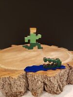 Pitfall Harry and Alligator from atari 2600 Figure for display on a shelf/desk