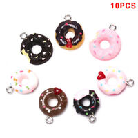 10Pcs/Set Resin Donuts Food Charms Pendants Jewelry Findings DIY Craft Making