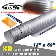 """*12""""x60"""" 3D LIGHT GRAY CARBON FIBER Texture Vinyl Wrap Sticker Decal Film Sheet"""