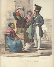 La venditrice di castagne Morner Cuciniello e Bianchi lito acquarellata 1827