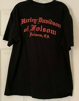 Harley Davidson Black Tee Mens XL Folsom CA Motorcycle Biker Graphic T-Shirt S/S