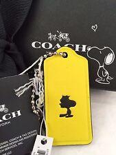 COACH X Peanuts Yellow Leather Hangtag Bag Charm Key Chain ~ WOODSTOCK ~ 63187