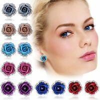 Fashion Woman Rose Flower Crystal Rhinestone Colorful Ear Stud Pierced Earrings