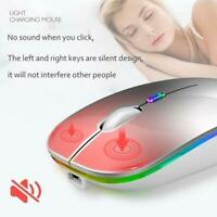 2.4GHz Wireless Optical Mouse Mice USB-Rechargeable LED Computer For PC Q7Y9