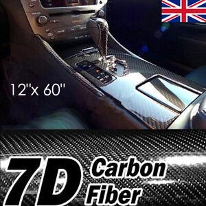 "12""x 60"" Black 7D GLOSS Carbon Fibre Vinyl Wrap Film car sticker Air/Bubble Free"