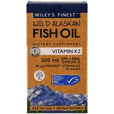 Wiley's Finest Wild Alaskan Fish Oil with Vitamin K2, 60 Softgels
