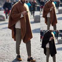 INCERUN Men Poncho Fleece Cloak Long Jacket Loose Punk Cape Coat Pullover Jumper