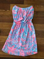 Lilly Pulitzer Windsor Strapless Pull-On Dress Pink Sun Ray Summer Siren - Sz XS