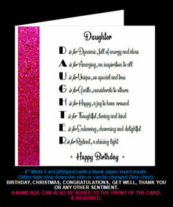 'Daughter Poem' Birthday Card, Christmas Card, Special Daughter, Step/In Law etc