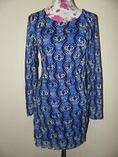 Neues Verspieltes Zero Collection Damen Chiffon Kleid Gr. 40 Retro Muster Blau