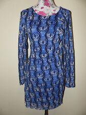 Neues Verspieltes Zero Collection Damen Chiffon Kleid Gr. 42 Retro Muster Blau