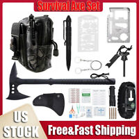 Outdoor Survival Axe Set Tactical Hatchet Camping Emergency Gear Mutil Tools Kit