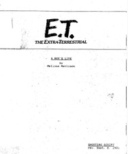 E.T.- The Extra Terrestial - A Boy's Life Movie Script By Melissa Mathison 1981