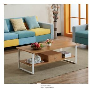 Scandinavian Wooden Coffee Table Nordic Style w/ Storage Drawer Living Room