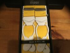 TAGGS BARRATHEA yellow braces,white leather ends, rhodium fittings.