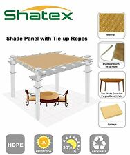 Shatex 90% Wheat 12x20ft Shade Panel for Patio, Ppergola with Ready-tie up Rope