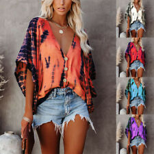Womens Summer V Neck Bat Sleeve T Shirt Loose Button Blouse Casual Tie-dye Tops