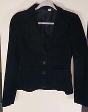H&M Divided Corduroy 3 Button Blazer Sz 6 Black Jacket Coat Lined Pockets