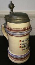 Vintage German Beer Mug Stein 1L 1887 'Ein fröhlich Lied ein gut Glas Bier'