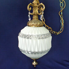 Hollywood Regency Faceted Glass Pendant Hanging Swag Lamp