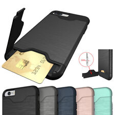 iPhone 7 Plus Shockproof Cover Case with Hidden Credit Card Holder & Kickstand