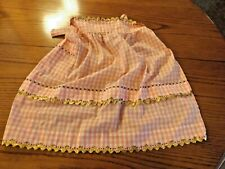 Vtg Half Apron Checked Gingham Embroidered Cross Stitch Pink Gold Rick Rick