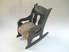 ARTS AND CRAFTS  MINIATURE doll rocking chair / HAND MADE WOODEN - EARLY 1900's