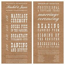 Sample Wedding Order of Service. Rustic Vintage Brown!The Invite Shack