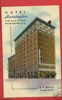 WASHINGTON DC HOTEL HARRINGTON BRYCE POSTCARD