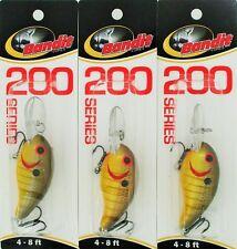 (3) Bandit Lures 200 Series 4-8 Ft Crankbaits Butterscotch BDT 2B63