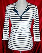Ralph Lauren Jeans Co Women's Sml Top Shirt 3/4 Sleeve Blue White Stripe NWT