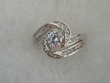 solitaire with accents engagement cocktail ring New Rsc Size 6.25 rhodium ep cz