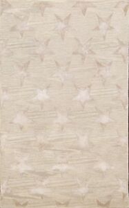 Hand-tufted Stars Design Beige Oriental Area Rug Wool with Synthetic Carpet 4x6